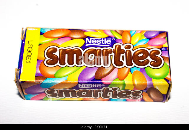 Really Old Mini Smarties Chocolate Box Circa 1990s On A Plain White Gray