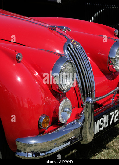 Vintage Automobile Front Center With One Headlight : Vintage car hood ornament jaguar stock photos
