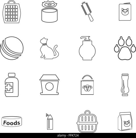goods for pets icons set stock image