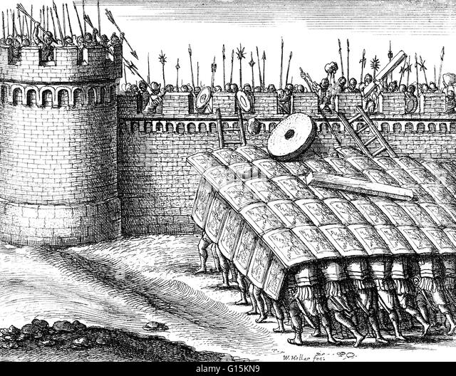 roman army tortoise formation When was the testudo / tortoise formation first used by the romans  i have never read anything about testudos when the roman army employed phalanx tactics anyway .