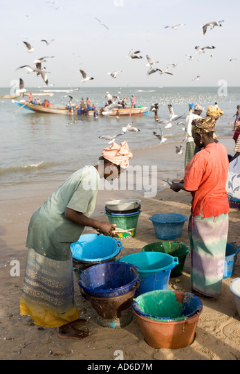 Stock photo women clean fish as open fishing boats arrive with catch