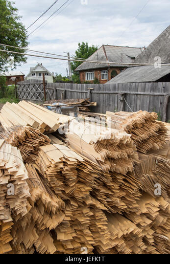 Wood Slabs The Traditional Roofing Of Wooden Houses In The Maramures Region    Stock Image