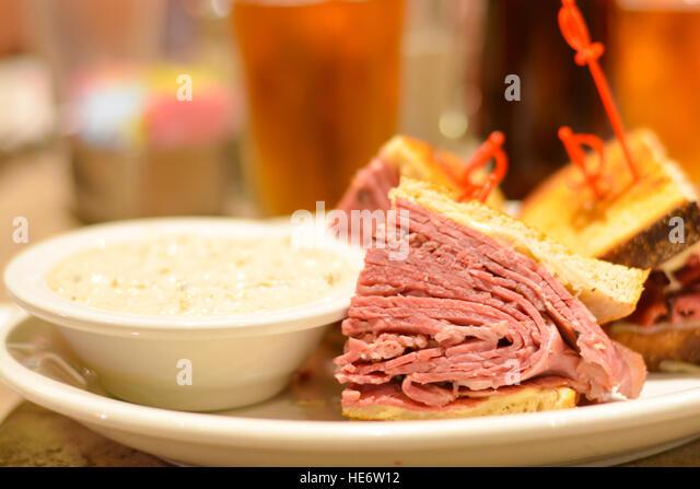Corned Beef Pastrami Sandwich Close Up Stock Image