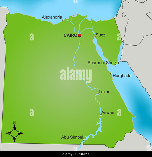 The Nile Map Stock Photos The Nile Map Stock Images Alamy - Map of egypt showing nile river