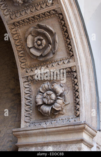 Stone carvings of flowers stock photos