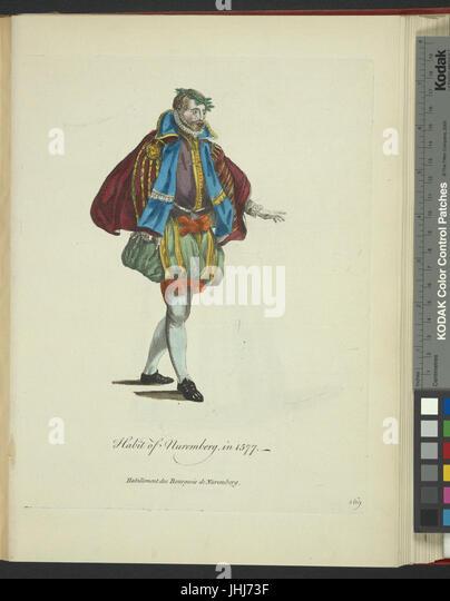 Habit of Nuremberg in 1577. Habillement des bourgeoise de Nuremberg (NYPL b14140320-1638180) - Stock Image