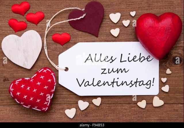 Label With Red Hearts, Valentinstag Means Valentine Day   Stock Image
