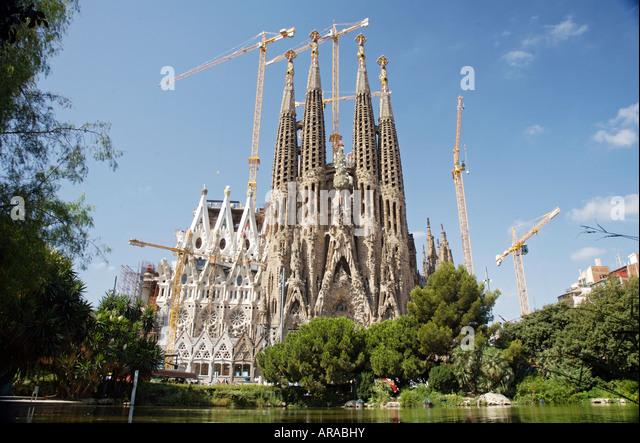 la sagrada familia nativity facade from placa de gaudi barcelona spain stock image