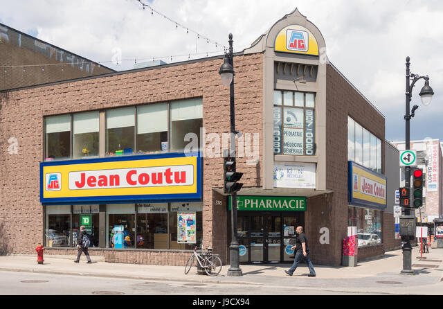 Montreal, Canada: 31 May 2017: Jean Coutu drugstore on boulevard Saint Laurent - Stock Image