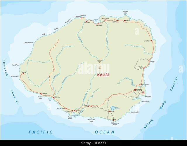 Map Hawaii Stock Photos Map Hawaii Stock Images Alamy - Road map of hawaii