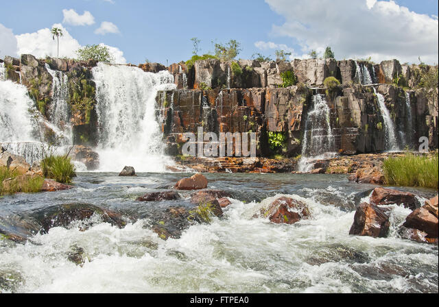 waterfall wall in rio couros stock image