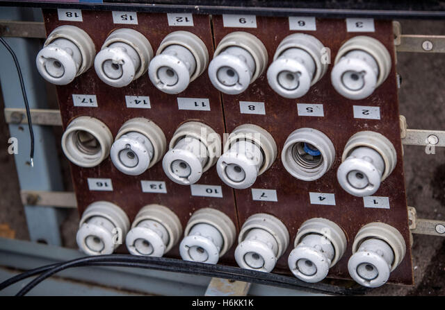 an old fuse panel with ceramic fuses from east germany seen in the h6kk1k old fuses stock photos & old fuses stock images alamy old fuse box fixes at panicattacktreatment.co
