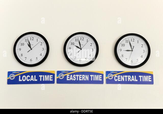 Clocks Showing Time In Different Times Zones At Marine Park Boatswain Beach  Grand Cayman Islands Caribbean