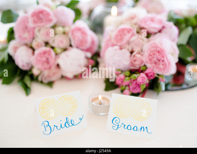 Bride And Groom Table Setting In Wedding Reception   Stock Image