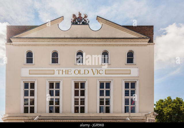 Frontage of the Old Vic, a famous 1000-seater theatre in the Lambeth borough of South London. - Stock Image