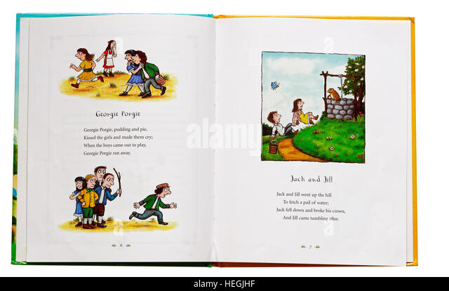 georgie porgie and jack and jill nursery rhymes in a book stock image