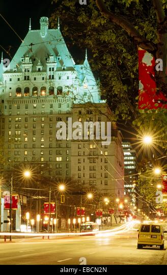 Vancouver street night stock photos vancouver street for City center motor hotel vancouver