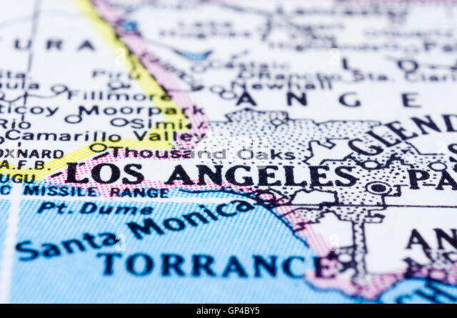 Los Angeles Map Stock Photos Los Angeles Map Stock Images Alamy - Los angeles on the map