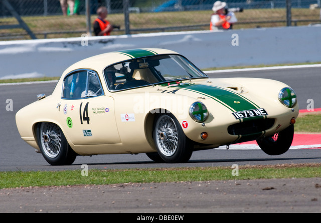 lotus elite driven by paul garside and philip weston in the rac tourist trophy for historic