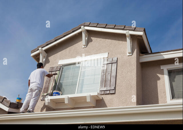 Man Painting Roof Ladder Stock Photos Amp Man Painting Roof