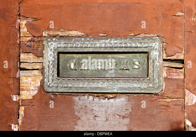 old mail slot in a wooden door in Porto Portugal - Stock Image & Door Letterbox Slot Stock Photos u0026 Door Letterbox Slot Stock ... pezcame.com
