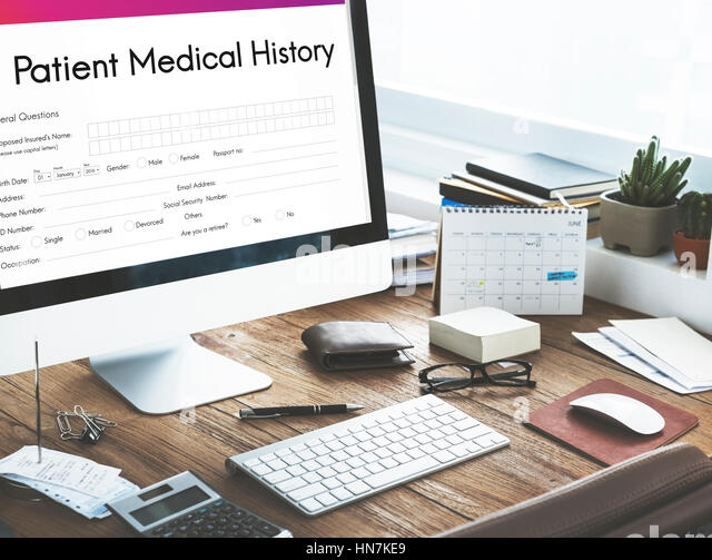 Patient Medical History Form Concept Stock Photos & Patient