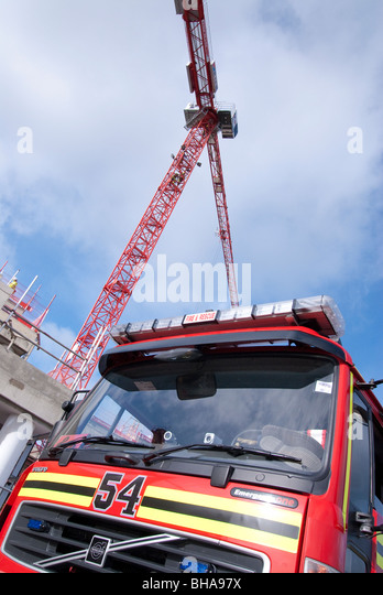 Tower Crane Engine : Fire construction site stock photos