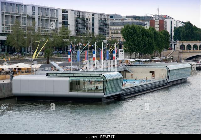 Piscine Josephine Baker, Floating Swimming Pool In The Seine, Paris, France    Stock
