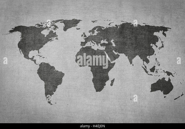 Pen on old world map stock photos pen on old world map stock textured vintage world map on grey grungy background stock image sciox Images