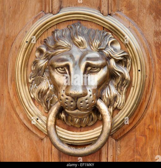 Lion head door knocker stock photos lion head door knocker stock images alamy - Lion face door knocker ...