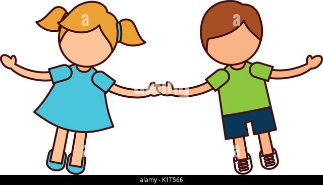 Cartoon Characters Holding Hands : Cartoon illustration happy multicultural children stock