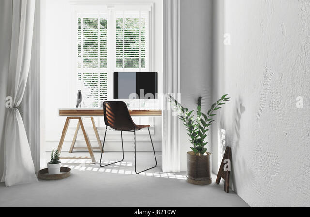 home office simple neat. Modern Simple Office With A Wooden Trestle Desk , Chair And Computer In Sunny Alcove Home Neat R