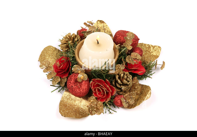 christmas floral candle holder against a white background stock image