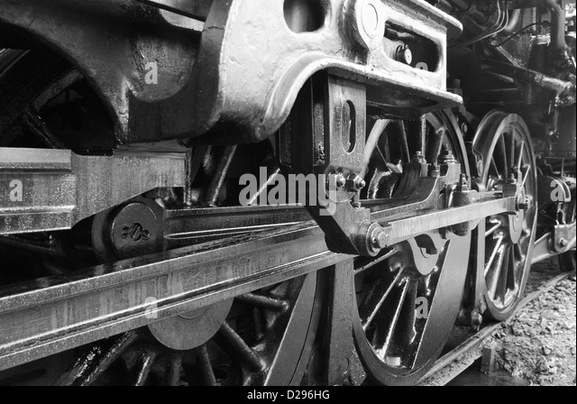 Old Engine Gears : Very old steam engine black and white stock photos