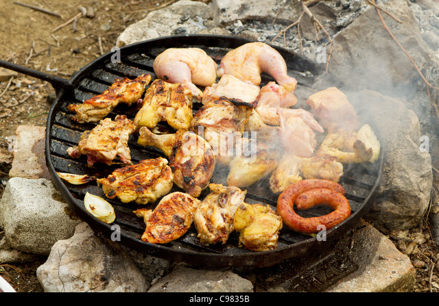 how to cook chicken on an open fire