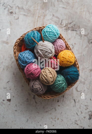 Knitting Basket Yarn : Knitting basket stock photos