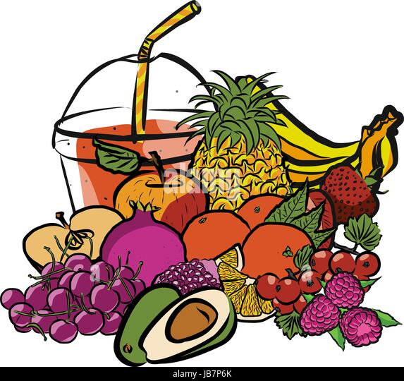 Fresh Summer Fruits and Smoothie to Go, Colored Artwork separated on White, Fresh Food Collection, Handdrawn Clean - Stock Image