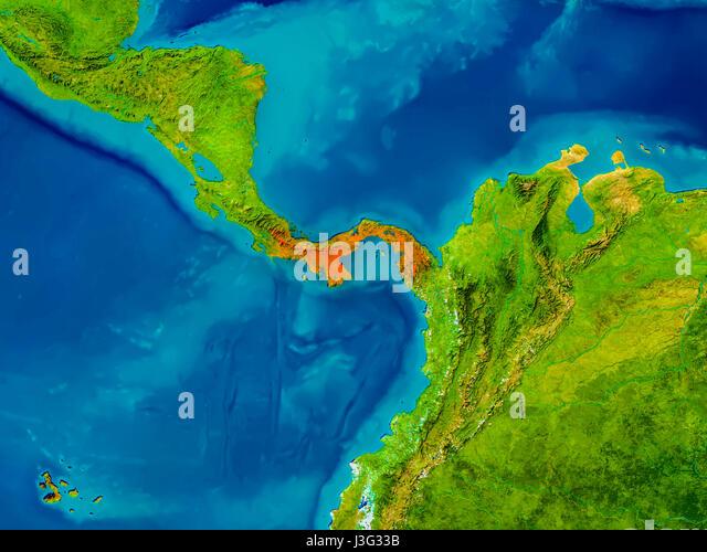 Map Satellite Geography Panama Stock Photos Map Satellite - Physical map of panama