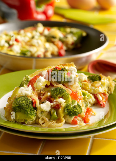 Caramelized onion, red bell pepper, broccoli and cheese frittata in a ...