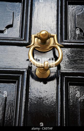 Close Up Of A Brass Door Knocker On Victorian Door In The UK   Stock Image