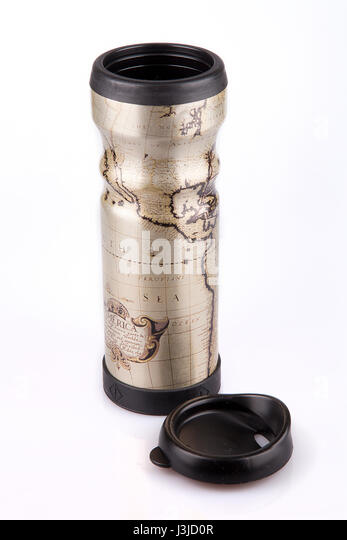 Travel mug stock photos travel mug stock images alamy travel mug with a world map on a white surface thermos tumbler isolated on white sciox Image collections