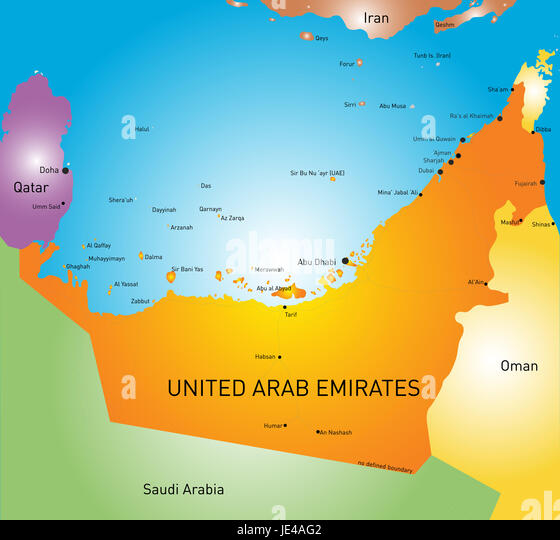 vector color map of united arab emirates stock image