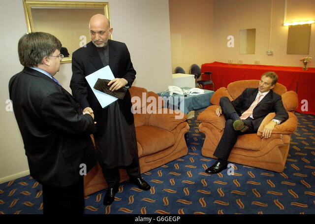 labour party conference hamid karzai stock image