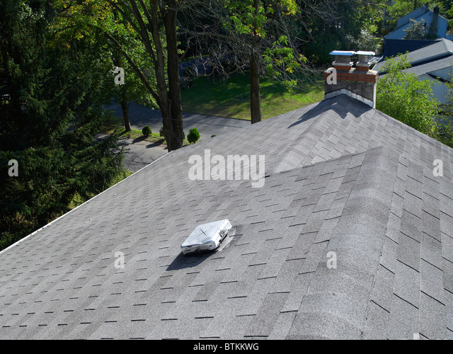 House Roof With Roof Vent And Chimney, Philadelphia, USA   Stock Image