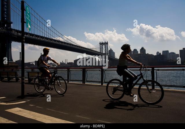 East River Bike Path Stock Photos East River Bike Path Stock