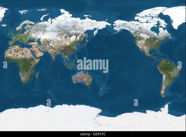 World Satellite Map In Winter Stock Photos World Satellite Map - World satellite map application
