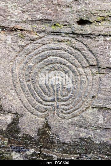 Circular stone carving stock photos