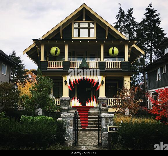 halloween monster haunted house in vancouver british columbia stock image