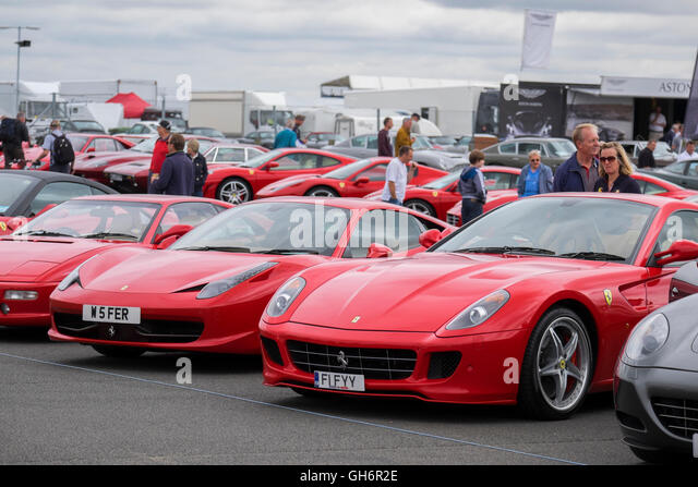 Great Ferrari Sports Cars Lined Up At The Silverstone Classic Car Event 2016, UK    Stock