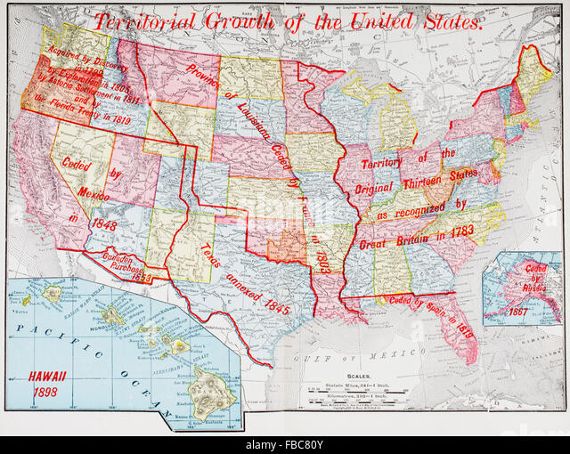 A Map Of 1898 Showing The Territorial Growth Of The United States Of America